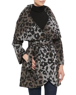 T Tahari Marla Leopard Wrap Coat
