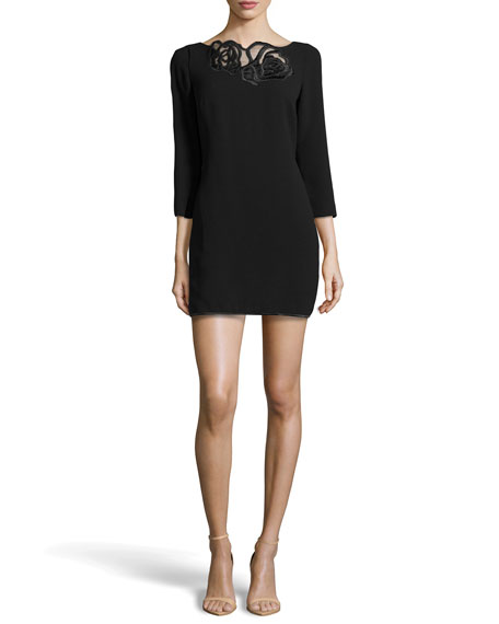3/4-Sleeve Embroidered-Neck Dress, Black