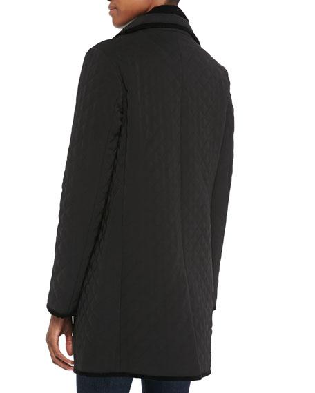 Quilted Velvet-Trim Boyfriend Rain Coat, Women's