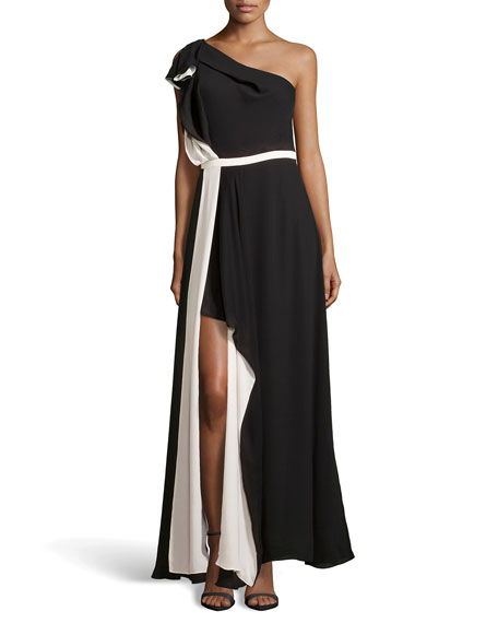Halston Heritage One-Shoulder Ruffled Evening Dress, Black/Cream
