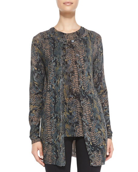 Minnie Rose Python-Print Cardigan