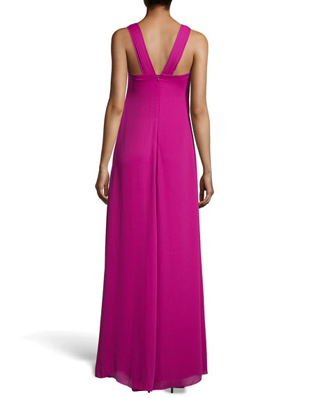 Gathered Georgette Gown, Bright Magenta
