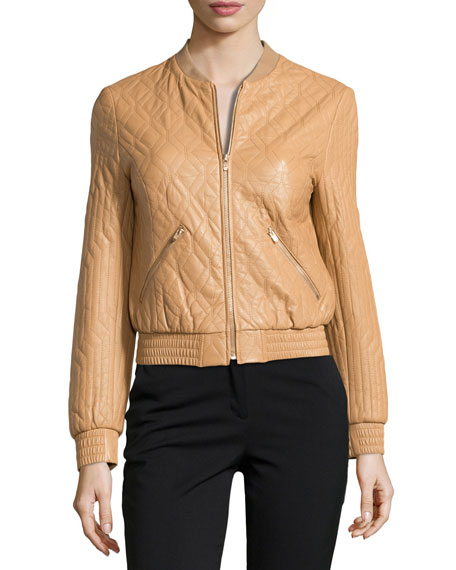 Long-Sleeve Quilted Leather Jacket, Tan
