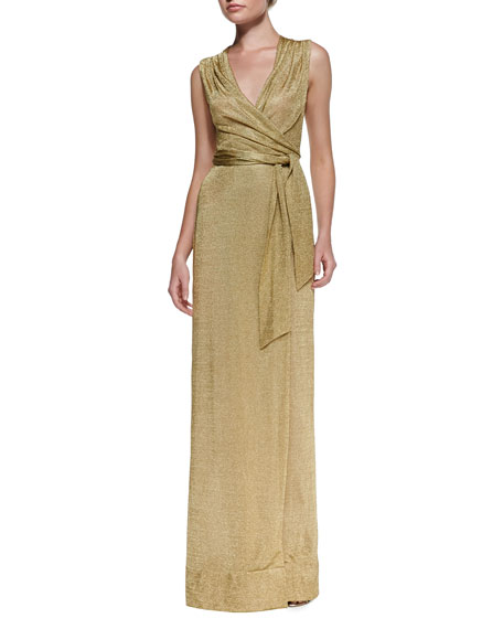 Sleeveless Metallic Wrap Dress