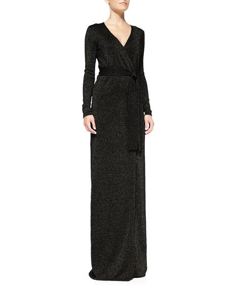 Long-Sleeve Lamé Maxi Dress