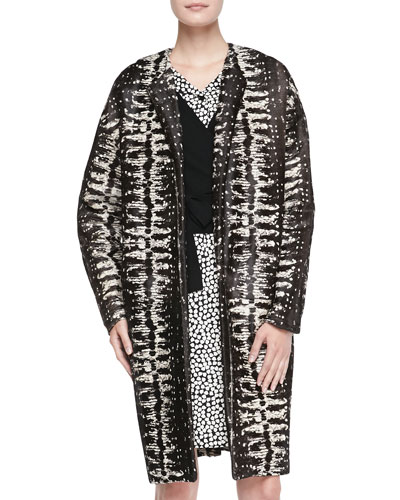 Diane von Furstenberg Long Printed Calf Hair Coat