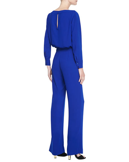 Long-Sleeve Blouson-Top Jumpsuit