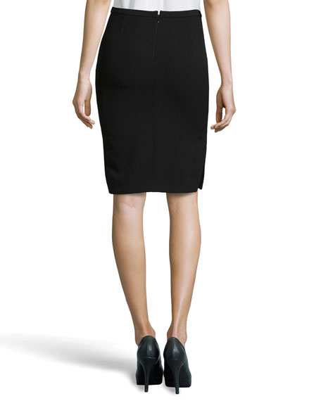 Side-Slit Pencil Skirt, Black