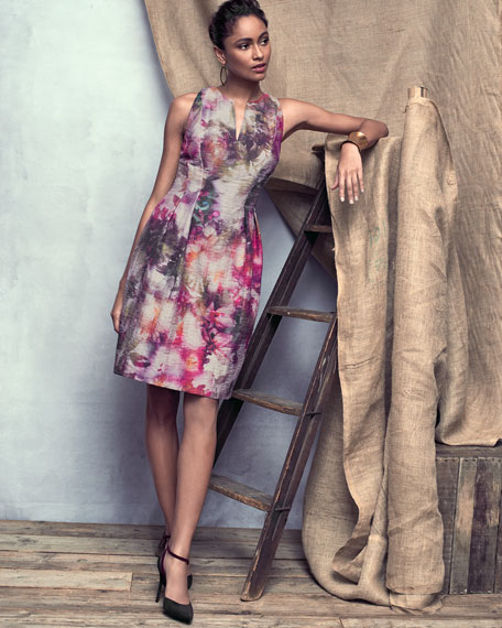 Sleeveless Floral-Print Dress
