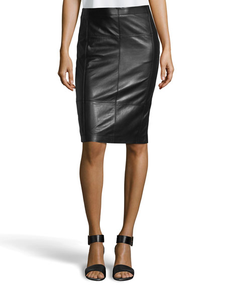 Paneled Leather Pencil Skirt, Black