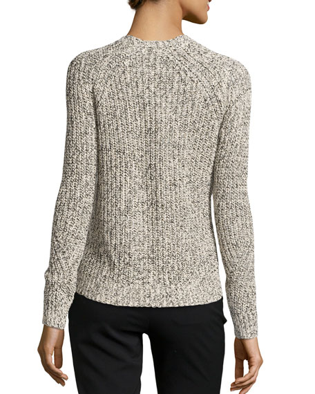 Long-Sleeve Cable-Knit Cardigan, Chalk/Black