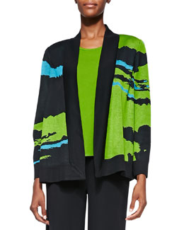 Misook Abstract Pattern Open-Front Jacket