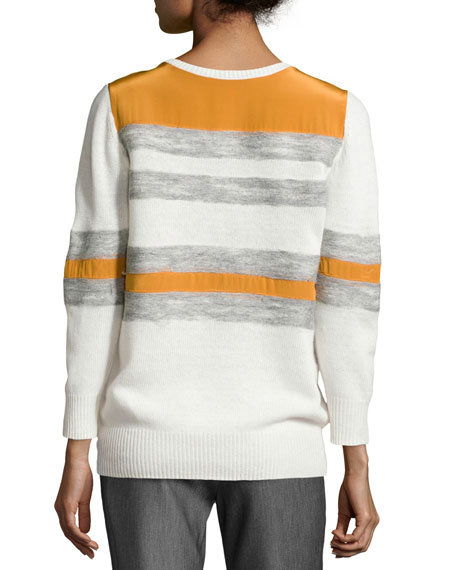 Mixed Stripe Crewneck Combo Sweater, Chalk/Heather Gray/Burnt Orange