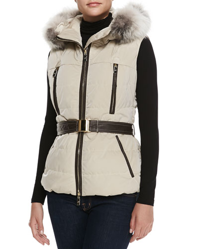 Fox Fur-Trim Apres-Ski Vest
