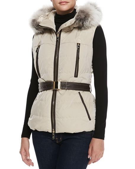 Gorski Fox Fur-Trim Apres-Ski Vest