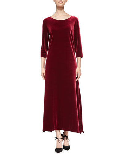 3/4-Sleeve Velour Long Dress, Petite