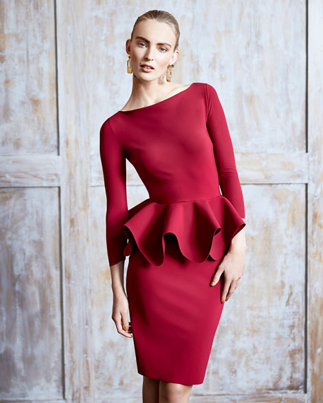 Eden 3/4-Sleeve Peplum Cocktail Dress