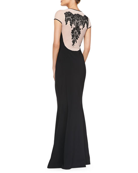 Luisa Cap-Sleeve Lace-Back Dress