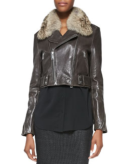 Andrew Marc x Richard Chai Detachable Fur-Collar Shiny Leather Jacket