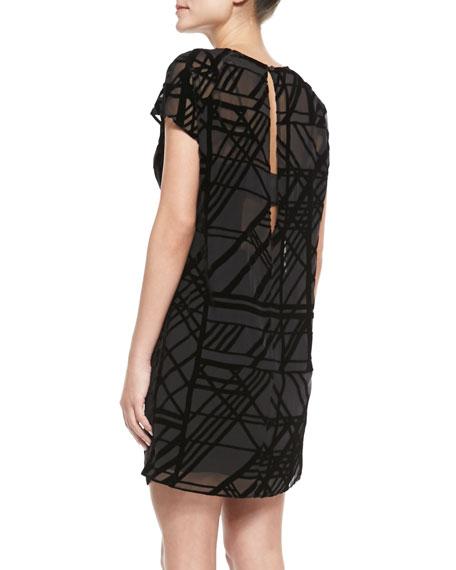 Shadow-Plaid Velvet-Burnout Dress