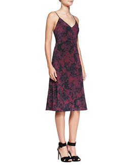 Andrew Marc x Richard Chai Sandwash-Print Crepe de Chine Dress