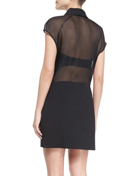 Sheer-Back Crepe Zip Dress