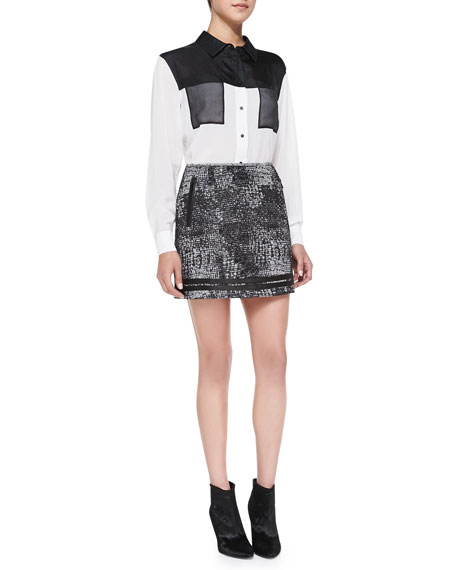 Distressed Plaid Shimmery Miniskirt