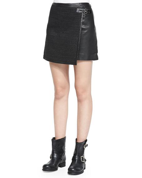 Woven Leather Mini Wrap Skirt, Black