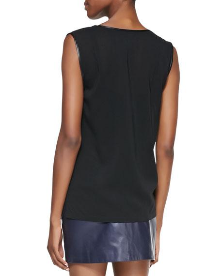 Leather-Trim Silk Sleeveless Blouse
