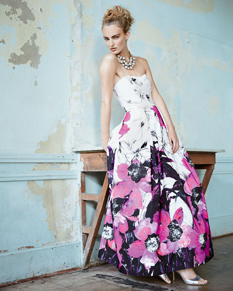 Ava Strapless Floral Gown