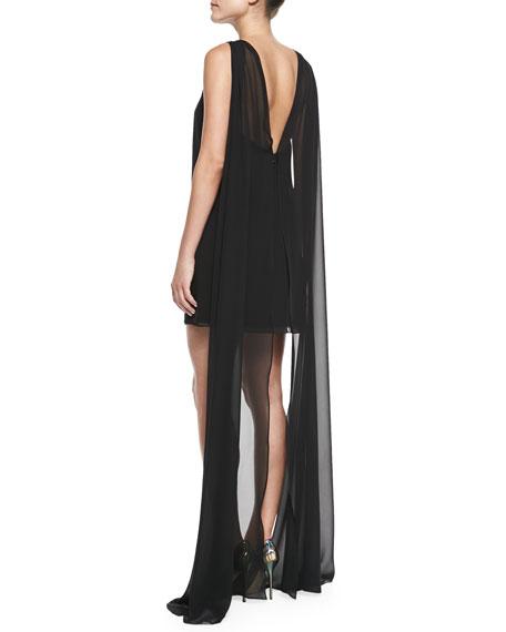 Vivienne Sleeveless Draped-Back Cocktail Dress