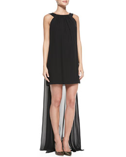 Milly Vivienne Sleeveless Draped-Back Cocktail Dress
