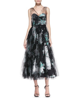 Milly Sleeveless Floral Overlay Cocktail Dress