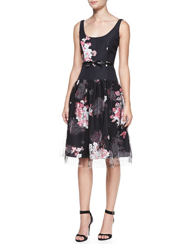 Milly Natalie Floral-Print Sleeveless Cocktail Dress