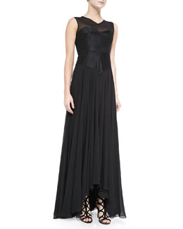 Milly Andie Sleeveless Mille Feuille Gown
