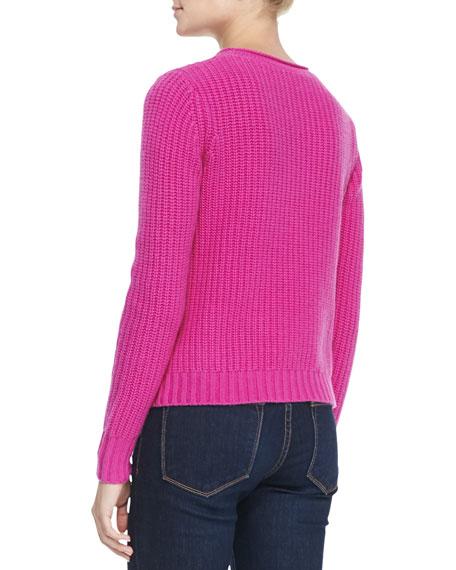 Shaker-Stitch Zipper-Hem Cashmere Sweater, Fiesta