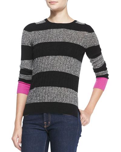 Autumn Cashmere Zip-Back Striped Cashmere Contrast Sweater