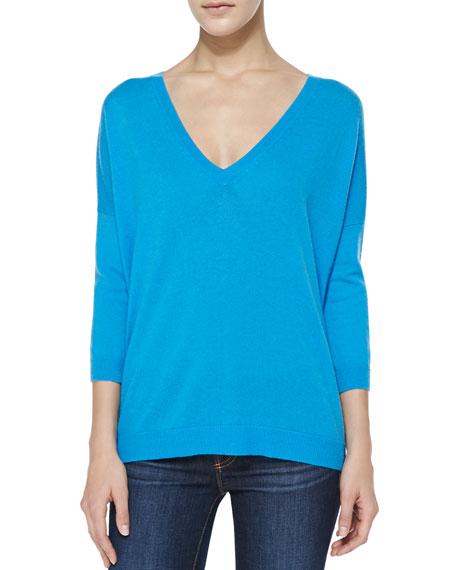 Back-Zip V-Neck Cashmere Sweater