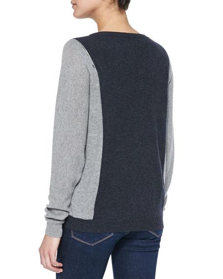 Colorblock Zip-Shoulder Cashmere Sweater