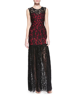Milly Annika Sleeveless Lace Overlay Gown