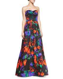 Milly Ava Strapless Floral Gown