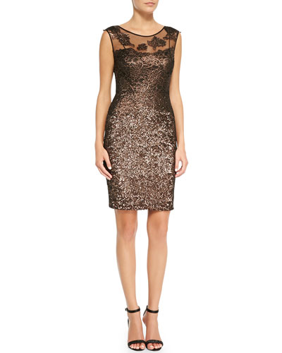 Kay Unger New York Metallic Lace-Yoke Cocktail Dress