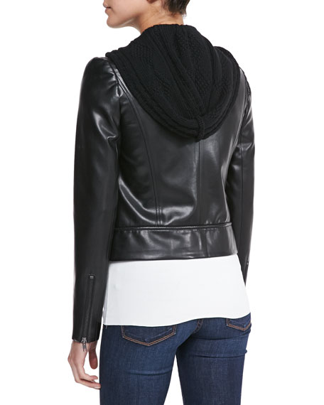 Jib Knit/Faux-Leather Moto Jacket
