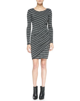 Bailey 44 Vertical Drop Long-Sleeve Draped Striped Dress