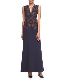 Tory Burch Breanon Brocade Back-Pleat Gown