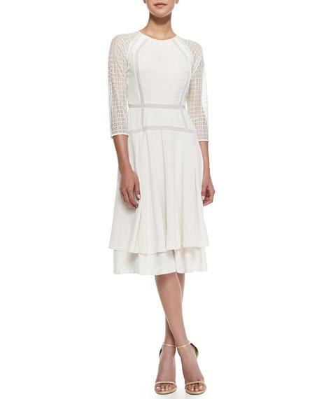 Lace & Ribbon-Detail Crepe Dress