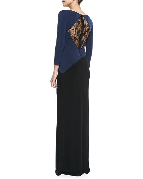 Stella Lace-Back Colorblock Jersey Maxi Dress