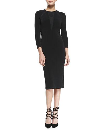 Alice + Olivia Maris Sheer-Inset Jersey Sheath Dress
