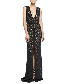 Alice + Olivia Mia Front-Slit Lace Gown