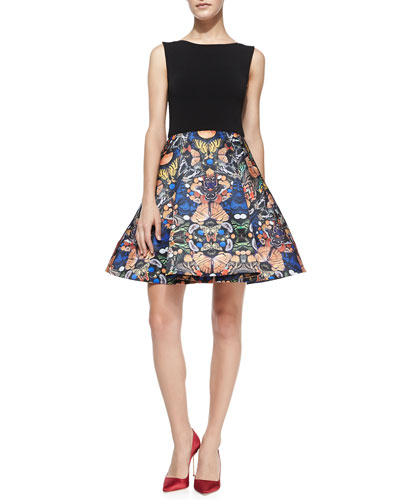 Alice + Olivia Amabel Solid/Printed Combo Dress